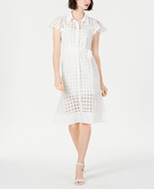 julia jordan Short-Sleeve Checkered Dress