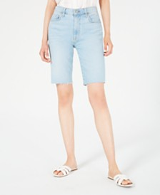 7 For All Mankind Raw-Hem Denim Bermuda Shorts