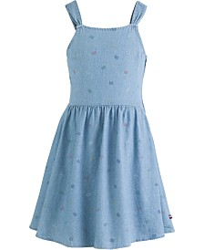 Tommy Hilfiger Little Girls Cotton Logo-Print Denim Dress