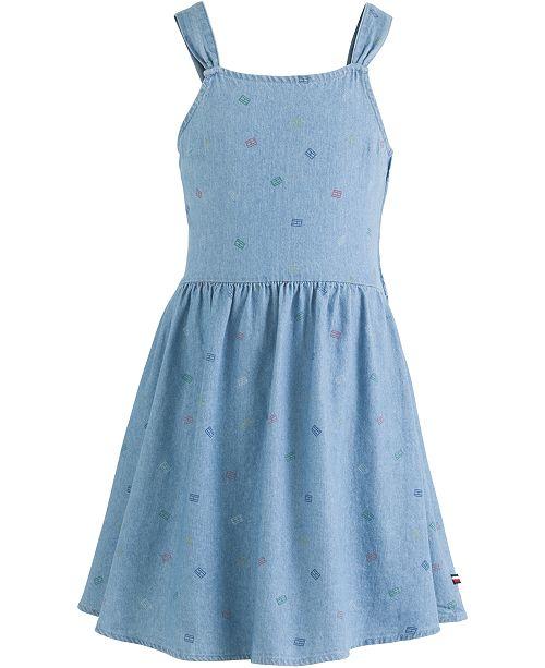 Tommy Hilfiger Big Girls Cotton Logo-Print Denim Dress