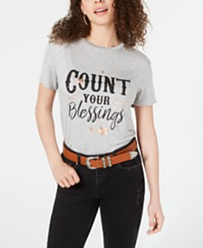Pretty Rebellious Juniors' Count Your Blessings Shine Graphic T-Shirt