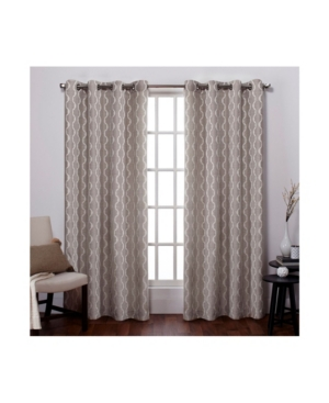Exclusive Home Baroque Textured Linen Look Jacquard Grommet Top Curtain Panel Pair