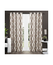 Exclusive Home Ironwork Sateen Woven Blackout Grommet Top Curtain Panel Pair
