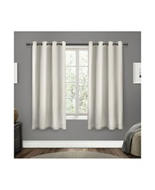 "Sateen Twill Woven Blackout Grommet Top Curtain Panel Pair, 52"" x 63"""