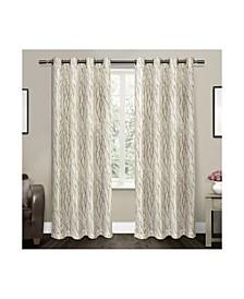 Oakdale Motif Textured Sheer Linen Grommet Top Curtain Panel Pair