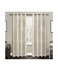 Exclusive Home Oakdale Motif Textured Sheer Linen Grommet Top Curtain Panel Pair