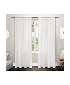 Exclusive Home Pom Pom Applique Bordered Textured Sheer Rod Pocket Curtain Panel Pair