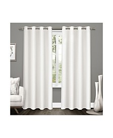 Exclusive Home Tweed Textured Linen Blackout Grommet Top Curtain Panel Pair