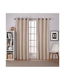 "Raw Silk Woven Blackout Grommet Top Curtain Panel Pair, 54"" x 108"""