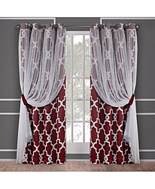 Alegra Layered Geometric Blackout and Sheer Grommet Top Curtain Panel Pair