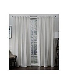 "Sateen Twill Woven Blackout Hidden Tab Curtain Panel Pair, 52"" x 84"""