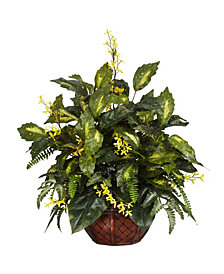 Nearly Natural Forsythia and Mixed Greens Silk Plant