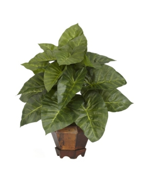 Nearly Natural Taro w/ Vase Silk Plant