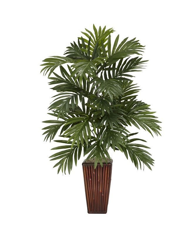 Nearly Natural Areca Palm w/ Bamboo Vase Silk Plant