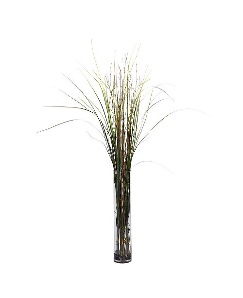 Nearly Natural Grass and Bamboo w/ Cylinder Silk Plant