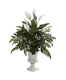 Nearly Natural Mixed Greens and Spathiphyllum w/ Decorative Urn
