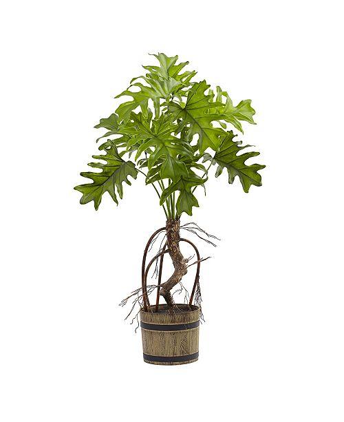 Nearly Natural Split Philo Plant w/ Bucket Planter