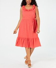 MICHAEL Michael Kors Plus Size Ruffled Midi Dress