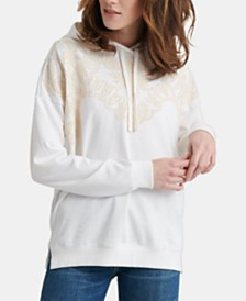 Lucky Brand Cotton Crochet Embroidered Hoodie
