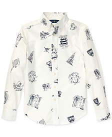 Polo Ralph Lauren Big Boys Icon-Print Cotton Oxford Shirt