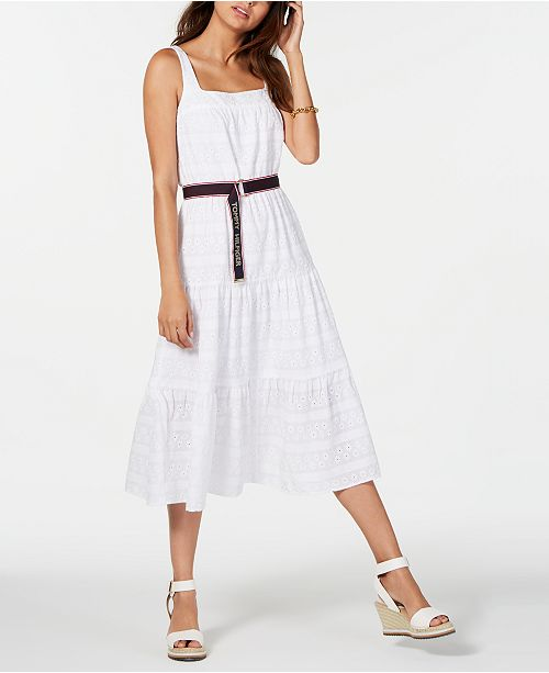 f51d9ec4ce776 ... Tommy Hilfiger Cotton Eyelet Midi Dress, Created for Macy's ...