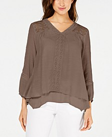 Petite Layered-Hem Crochet Woven Top, Created for Macy's