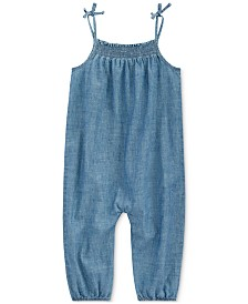 Polo Ralph Lauren Baby Girls Indigo Cotton Chambray Romper