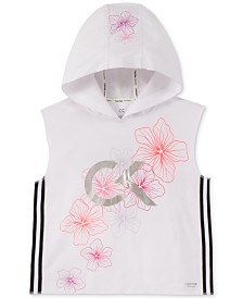 Calvin Klein Performance Big Girls Floral-Print Sleeveless Hoodie