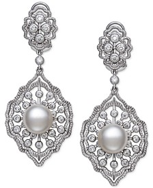 Cultured Freshwater Pearl (9-10mm) & Cubic Zirconia Drop Earrings in Sterling Silver, Created for Macy's