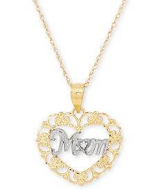 "Diamond Accent 18"" Pendant Mom Necklace in 10k Gold"