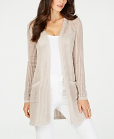Charter Club Petite Vertical-Stitch Metallic Cardigan, Created for Macy's