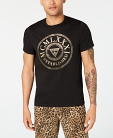 GUESS Men's Metallic Crest Logo Graphic T-Shirt