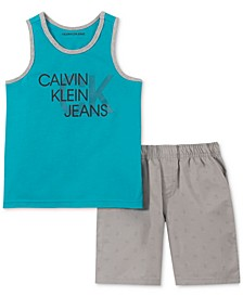 Little Boys 2-Pc. Logo Tank & Swim Shorts Set