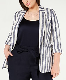 Bar III Plus Size Striped Jacket, Created for Macy's