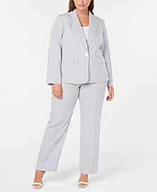 Plus Size Single-Button Seersucker Pantsuit