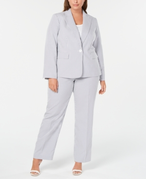 Plus Size Single-Button Seersucker Pantsuit