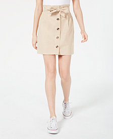 Planet Gold Juniors' Belted Button-Front Skirt