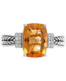 EFFY® Citrine (3-1/4 ct.t.w.) & Diamond Accent Statement Ring in Sterling Silver