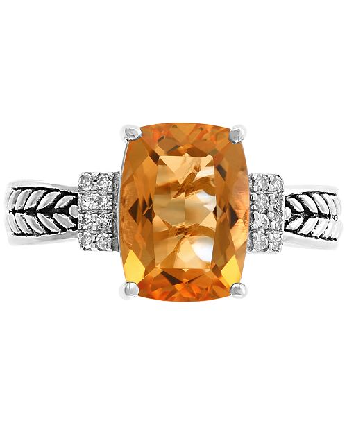 EFFY Collection EFFY® Citrine (3-1/4 ct.t.w.) & Diamond Accent Statement Ring in Sterling Silver