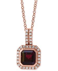 "EFFY® Rhodolite Garnet (1-9/10 ct. t.w.) & Diamond (1/6 ct. t.w.) 18"" Pendant Necklace in 14k Rose Gold"