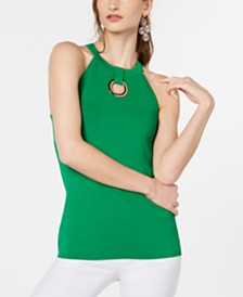 I.N.C. Grommet-Keyhole Sweater Halter Top, Created for Macy's