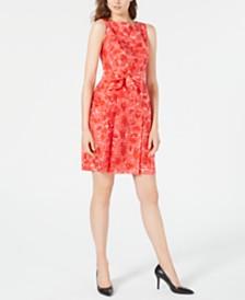 Anne Klein Printed Belted A-Line Dress