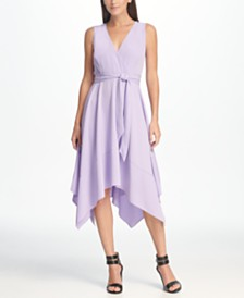 DKNY V-Neck Tie Waist Handkerchief Hem Midi Dress