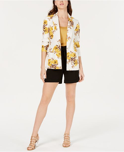 Bar III Floral Printed Linen Jacket, Crepe Spaghetti-Strap Top & Belted Shorts, Created for Macy's