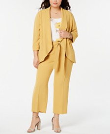 Bar III Plus Size Textured Crepe Jacket, Printed Camisole & Textured Crepe Tie-Waist Pant, Created for Macy's