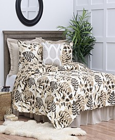Silhouette Palm Full Queen 3 Piece Quilt Set