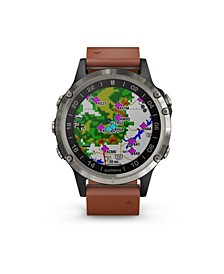 D2 Delta Premium GPS Aviator Watch in Brown