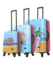 Halina Aunty Acid Trip 3 Piece Hard Side Spinner Luggage Set
