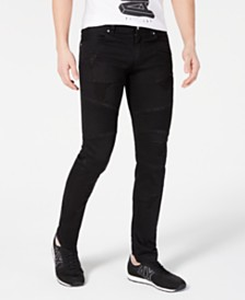A|X Armani Exchange Men's Slim-Fit Stretch Destroyed Moto Jeans