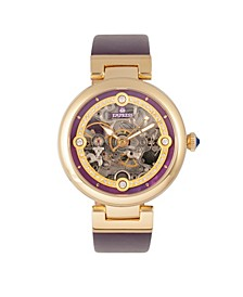 Adelaide Automatic Purple Leather Watch 38mm